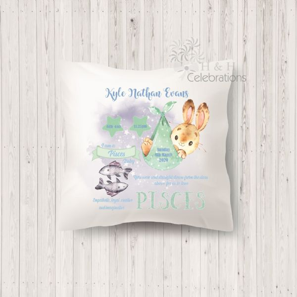 Pisces - Baby Star Sign Keepsake Cushion